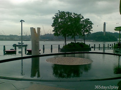 View of Vivocity outdoor fountain