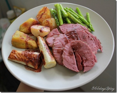 Roast Lamb with Parsnip, kumara, asparagus
