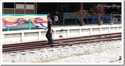 Tanjong Pagar Railway Station train tracks man on the tracks!