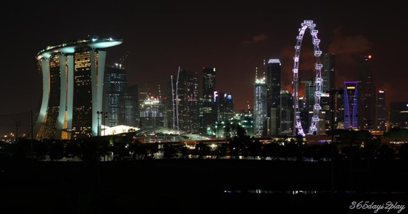 Singapore city skyline including marina bay sands
