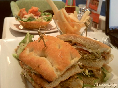 Coffee Club Sandwich with alfalfa sprouts