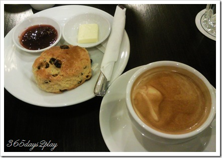 Cafe Beviamo Scone and Latte