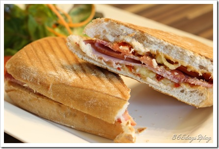 Room Ham and Cheese Panini with diced tomatoes