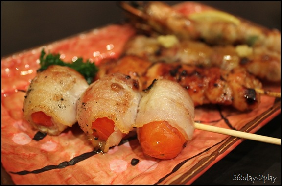 Shin Kushiya Tomatoes wrapped in Bacon